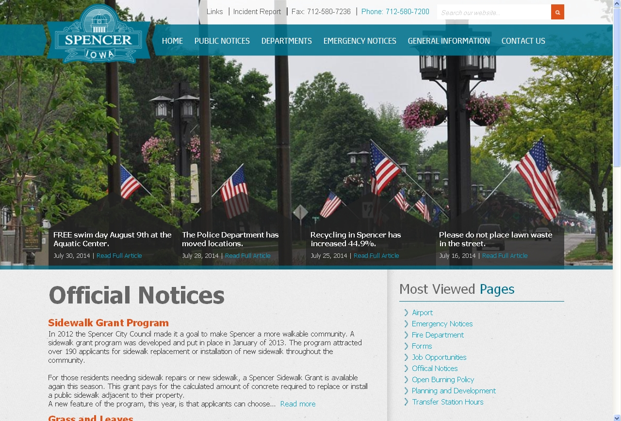 New City of Spencer Website