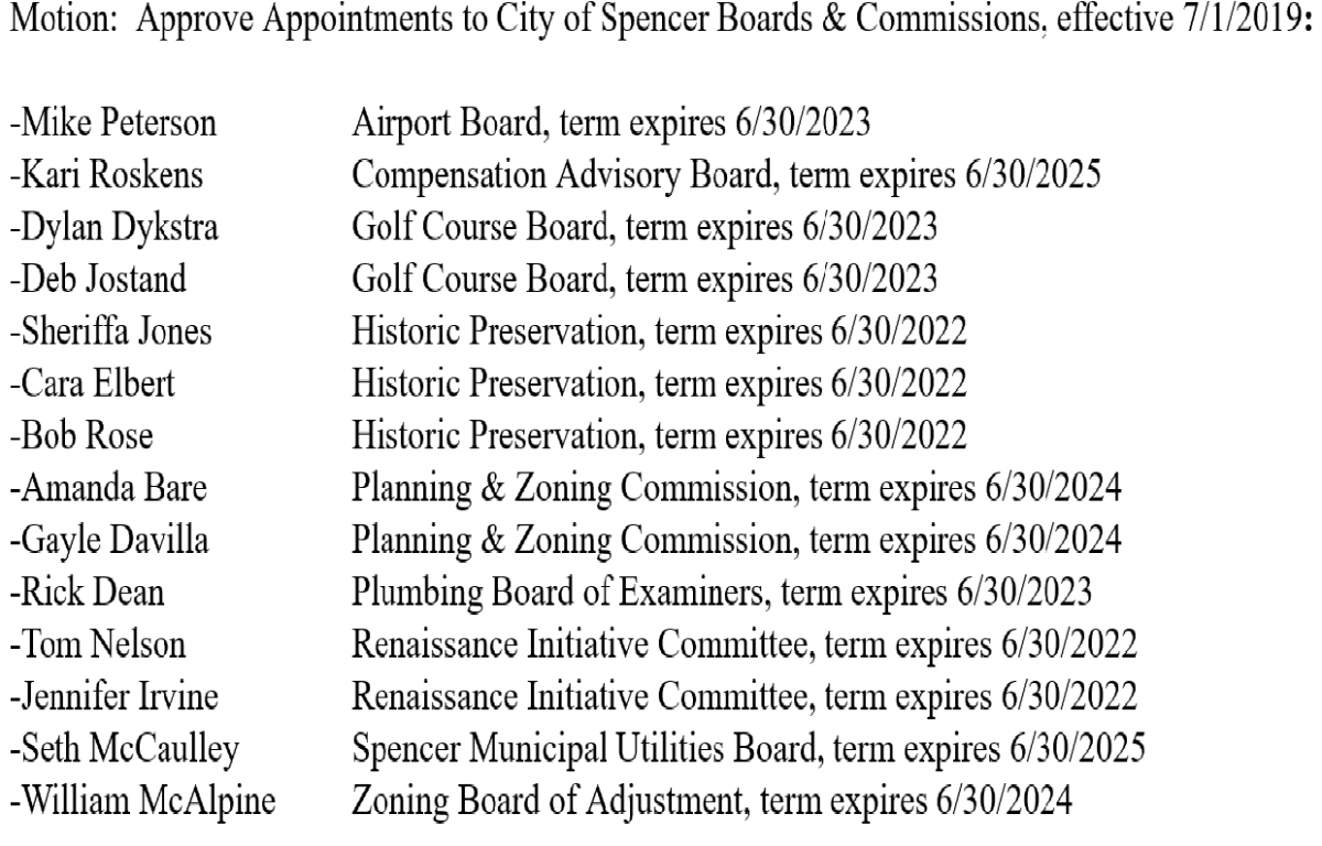 Spencer City Council Appoints 14 Board Positions - KICD-FM News Talk